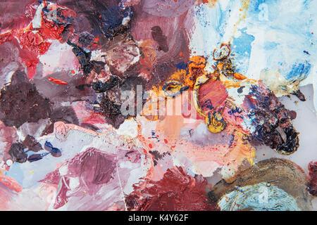 L'arte astratta sfondo. il dipinto a olio su tela. luminoso multicolore texture. Frammento di opere d'arte. macchie Foto Stock