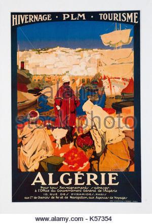 Viaggi Vintage poster pubblicitari Algerie Foto Stock