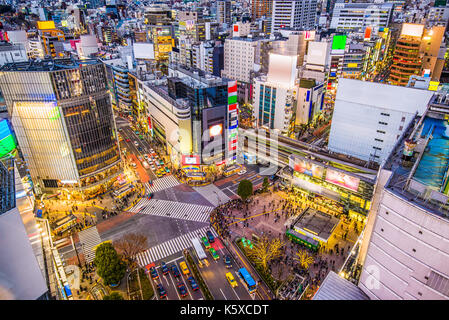 Shibuya, Tokyo, Giappone cityscape su shibuya crossing. Foto Stock