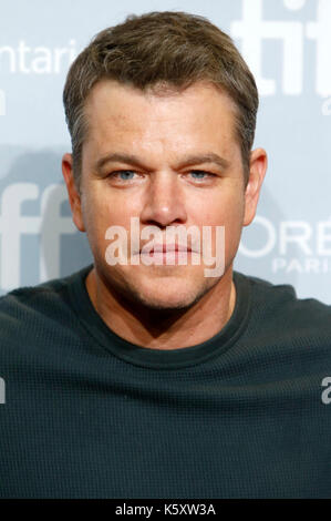 Toronto, Canada. Decimo Sep, 2017. matt damon durante il 'suburbicon' photocall durante la XLII toronto international Foto Stock