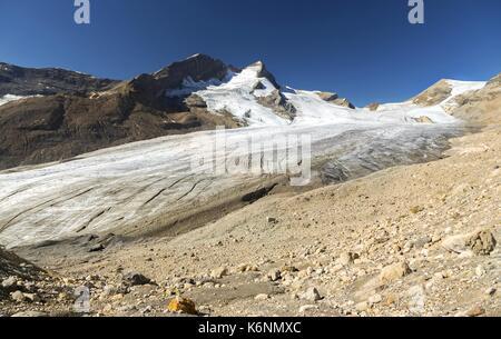 Paesaggio PAESAGGIO di mont des poilus, morena glaciale e des poilus ghiacciaio dell arrampicata in montagna sentiero, Foto Stock
