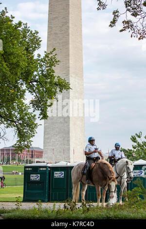 Washington, DC - 16 settembre 2017: le forze di polizia hanno aumentato la loro presenza sul National Mall durante Foto Stock