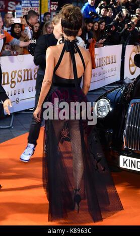 Frequentando la premiere mondiale di kingsman: il golden circle, a cineworld nel quadrato di Leicester, Londra. Foto Stock