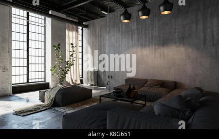 Grandi finestre in stile loft spazioso soggiorno ammobiliato Foto Stock