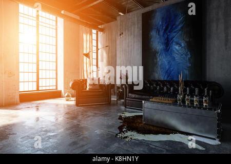 Caldo tramonto di flussi di luce attraverso le ampie finestre illuminano un contemporaneo, industriale in cemento Foto Stock