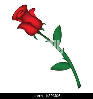 Immagine realistica di una rosa rossa. Illustrazione di vettore isolato su sfondo bianco. Creato con mesh tool. Foto Stock