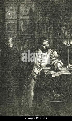 Cristoforo Colombo nel suo studio Foto Stock