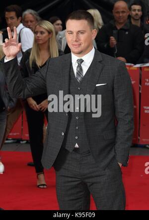 """Uk premiere di """" logan fortunato"""" tenutasi presso vue west end - arrivi con: Channing Tatum dove: Londra, Regno Foto Stock"""