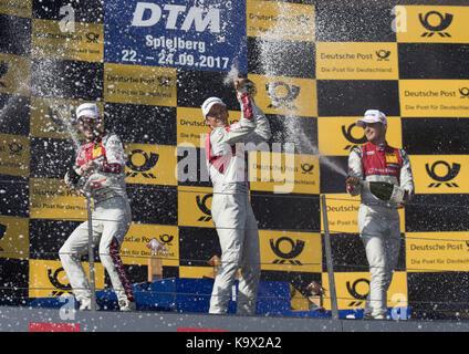 Motorsports: DTM 08 Spielberg 2017, Jamie Green, Mattias Ekström, Nico Müller | Verwendung weltweit Foto Stock