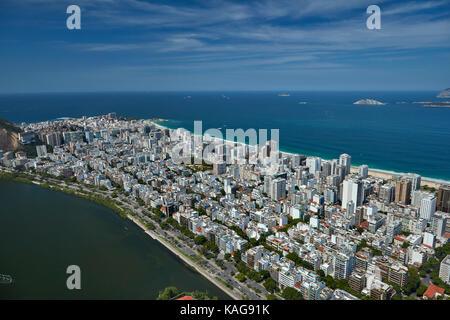 Rodrigo de Freitas Lagoon, e ipanema, a rio de janeiro, Brasile, Sud America - aerial Foto Stock