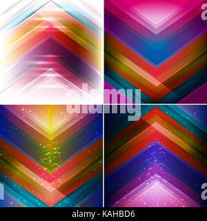 Set di vettore di astratta avant garde con sfondo multicolore di forma triangolare. Foto Stock