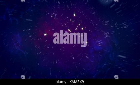 Abstract il rendering 3d di uno spazio aperto in volo con le stelle luminose, lampeggiante meteore, nebulas, particelle, in sfondo blu scuro. Il spacescape loo Foto Stock