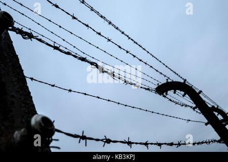 Barbwire recinzioni in Auschwitz Birkenau II campo di concentramento, Polonia Foto Stock