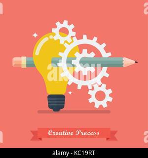 Processo creativo idea concetto. illustrazione vettoriale Foto Stock
