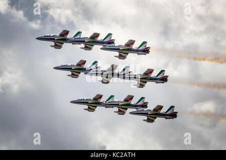 Frecce Tricolori, il team acrobatico della Forza Aerea Italiana, Airshow di Sion, Sion, Vallese, Svizzera Foto Stock