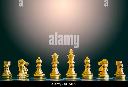 Strategia di battaglia di scacchi intelligenza gioco di sfida sulla scacchiera. successo il concetto di strategia. Foto Stock