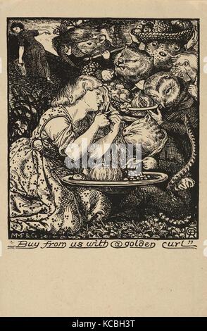 Disegni e Stampe, Stampa, acquistare da noi con un Golden Curl (frontespizio Goblin mercato ed altre poesie di Christina Foto Stock