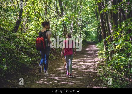 Madre e figlia camminando sul percorso nel bosco e parlare Foto Stock