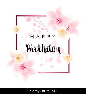 Disegno astratto happy birthday card con fiori e congratulazioni Foto Stock