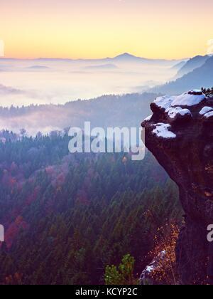 Rosa alba nel paesaggio collinare. inizio inverno foschia mattutina in belle colline rocciose. cime delle colline in una pesante velatura. miracolo della natura Foto Stock