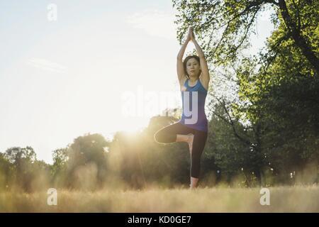 Donna matura nel parco, in equilibrio su una gamba in posizione di yoga, basso angolo di visione Foto Stock