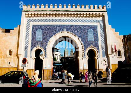 Bab Bou jeloud - fez - MAROCCO Foto Stock