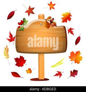 Scheda d'autunno con foglie colorate. Sfondo vettoriale . Foto Stock