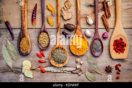 Varie erbe e spezie in cucchiai di legno. laici piana di spezie ingredienti peperoncino, pepe, aglio,asciuga il Foto Stock