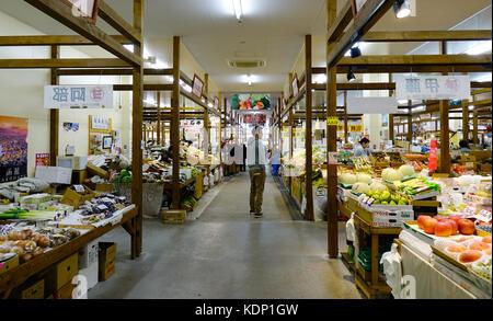 Hakodate, Giappone - Ott 1, 2017. I negozi di frutta ad Hakodate asaichi mercato. Il mercato è un'attrazione da Foto Stock