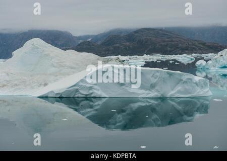 La Groenlandia, scoresbysund aka Scoresby Sund, fonfjord, iceberg alley. Foto Stock