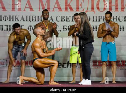 Skopje, Macedonia. Il 15 ottobre 2017. Skopje, r. la macedonia in sports hall rasadnik a 7 pm atleti di macedonia Foto Stock