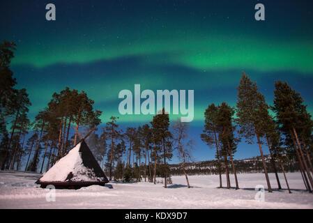 Luci del nord, Aurora Boreale in Lapponia, Finlandia Foto Stock