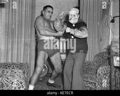 Wrestler ray steele e dei cartoni animati di popeye presso