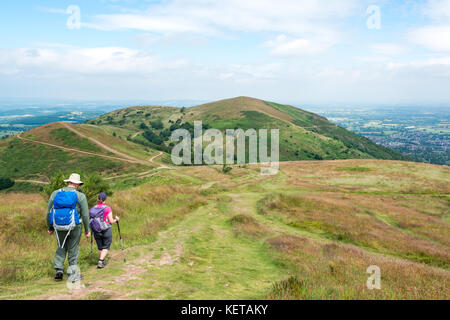 Passeggiando per le colline di Malvern, Worcestershire, Inghilterra Foto Stock