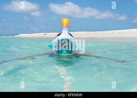 Snorkeling, Maldive Foto Stock