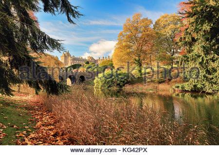 Autumn Tree riflessioni da un laghetto in Drummond Castle Gardens. Crieff, Perth and Kinross. Foto Stock