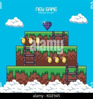 Pixel uno scenario di gioco Foto Stock