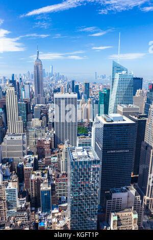 Skyline di Manhattan, New York skyline, Empire State Building di New York City, Stati Uniti d'America, Nord America, STATI UNITI D'AMERICA