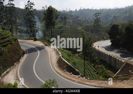 Hill Country provincia centrale dello Sri Lanka strada tortuosa e le piantagioni di tè vicino a Hatton Foto Stock