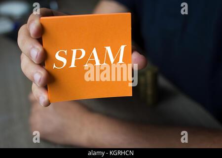 Lo spam, il concetto di tecnologia Foto Stock