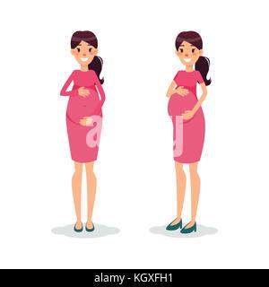 Gravidanza felice donne piana. futura mamma personaggio dei fumetti. gestante in posa. Foto Stock