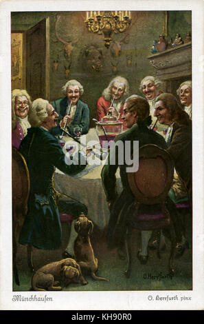 Il barone di Münchhausen di divertirsi con gli amici. Karl Friedrich hieronymus, Freiherr von Münchhausen, nobile Foto Stock