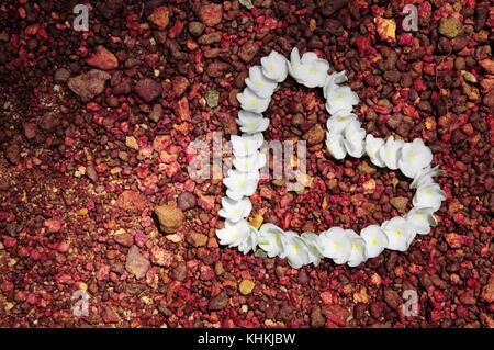 Cuore di fiori su pietre rosse Foto Stock
