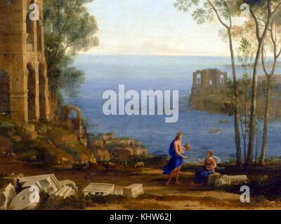 Pittura intitolato 'Coast vista con Apollo e il Cumaean Sibyl' da Claude Lorrain. Claude Lorrain (1600-1682) un Foto Stock