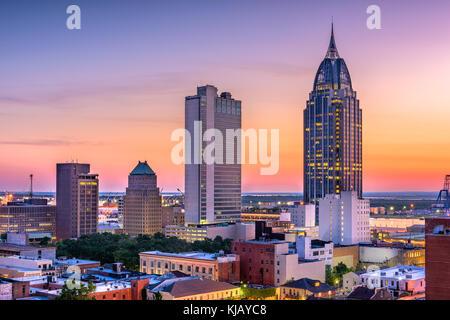Mobile, Alabama, Stati Uniti d'America skyline del centro.