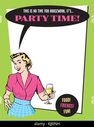 ... indossando il punk rock vestiti e bere il vino. Il tempo del partito retrò  casalinga invito alla festa del vettore modello di design con stile ce32059a286e