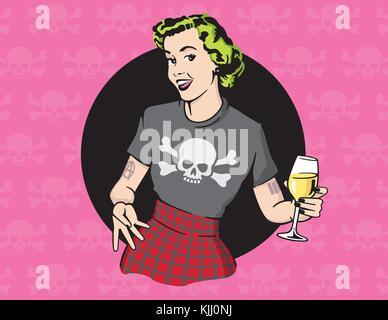 In stile retrò punk rock casalinga vettore casalinga design illustrazione  indossando il punk rock dei vestiti 88ac162792c8