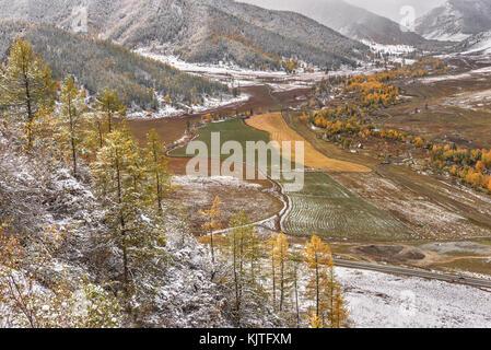 Scenic autunno vista aerea su montagne coperte di bosco, valle tra le montagne, campi road, golden alberi e la prima Foto Stock