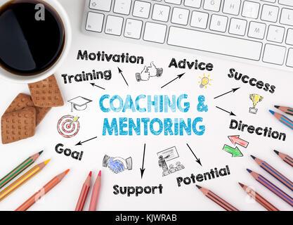Coaching e mentoring concetto. Grafico con le parole chiave e le icone. White scrivania in ufficio Foto Stock