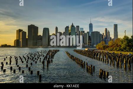 Skyline di New York Cityscape Manhatten World Trade Center libertà Foto Stock